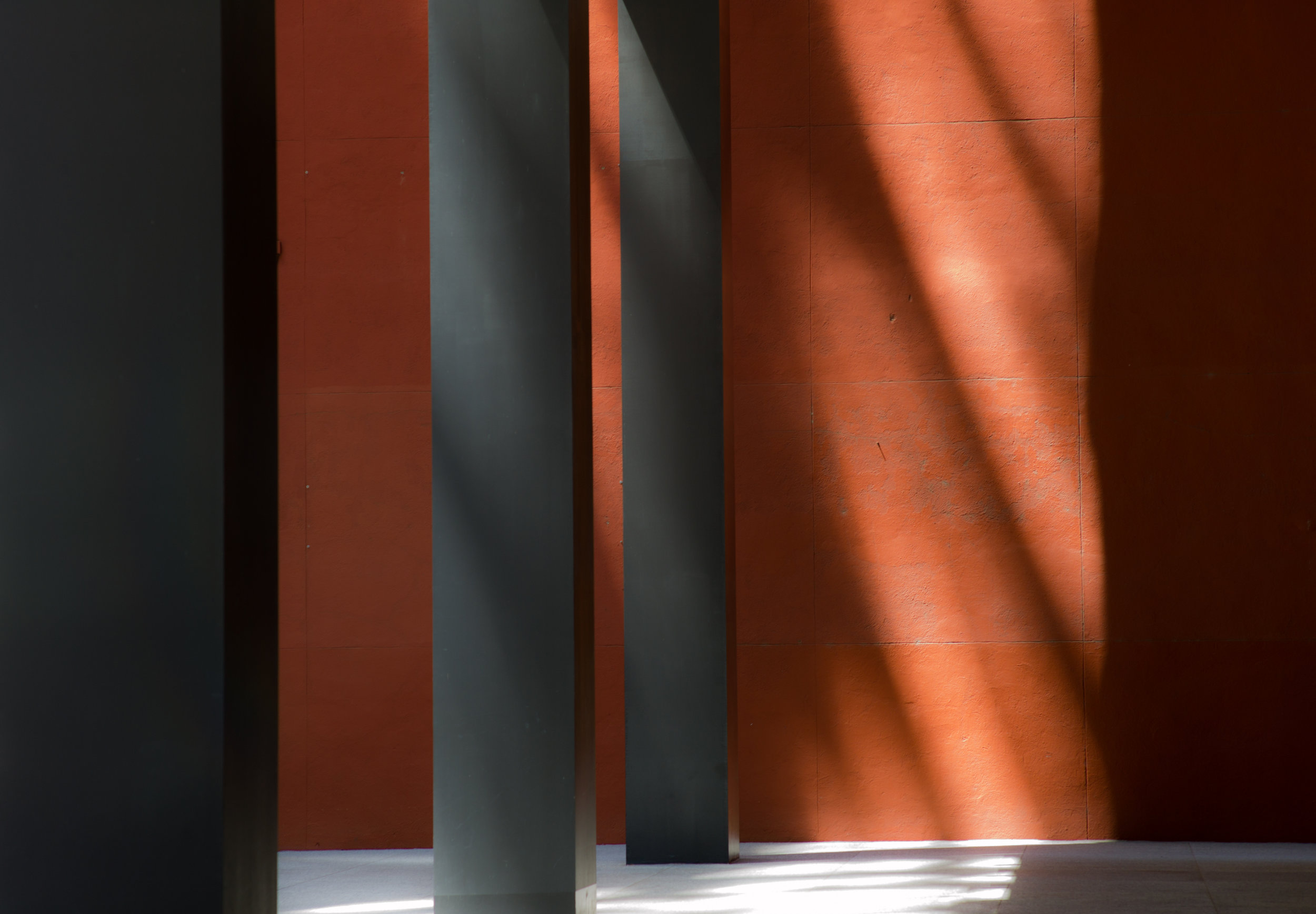 Orange Wall with Columns, Shadows