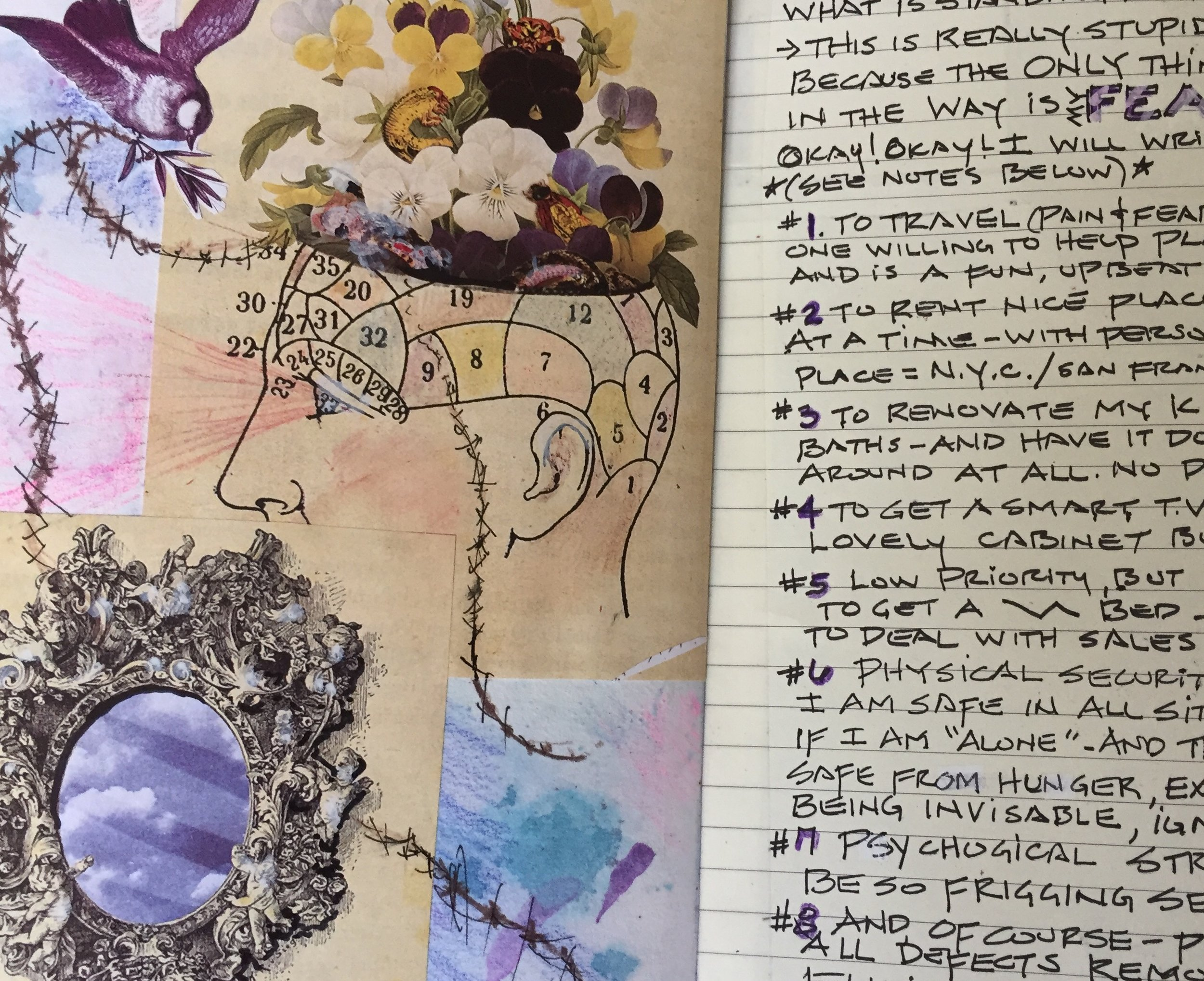 You can use collage (cutting and pasting images from magazines)to express your thoughts as seen in this journal by C.M.. Collage is perfect for beginners.