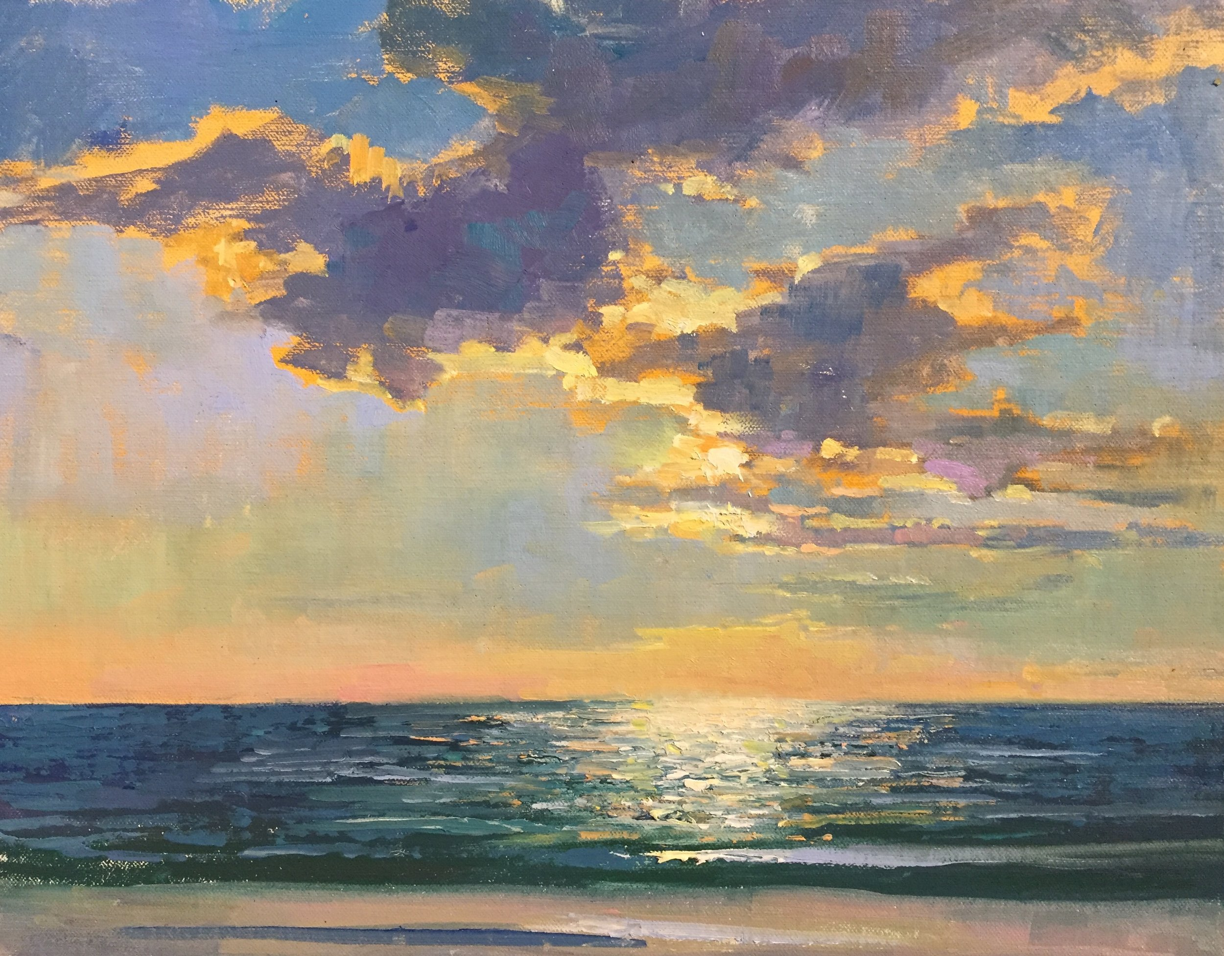 "Before Sunset. 11"" x 14"" Oil painted en plein air (on location outdoors) won two awards recently at the Paint the Beach competition and inspired a featured artwork that will be available for viewing at the gallery beginning Feb. 9th.    Click here to see more paintings for this exhibit"
