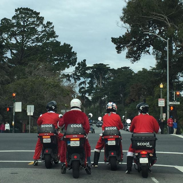 Christmas in San Francisco. #Santasonbikes #Santas