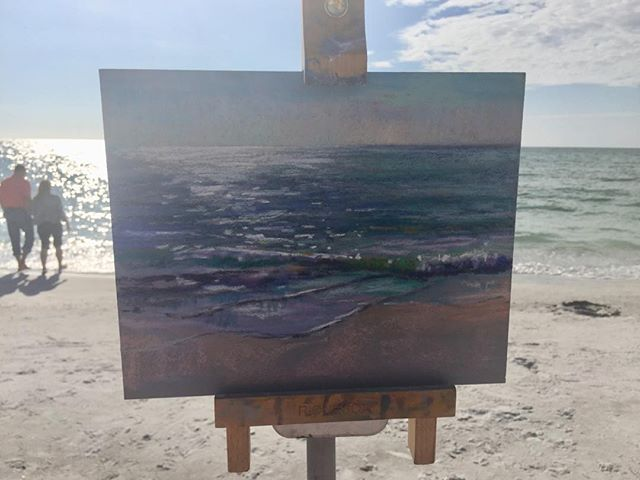 Testing out a new brand of Pastels and grounds. Loving them. #richesonart #pastelartist #pastelworkshop #visitsarasota #colorandenergy #alwaysthinkinrainbows #floridaartist #floridapleinair #530burnsgallery