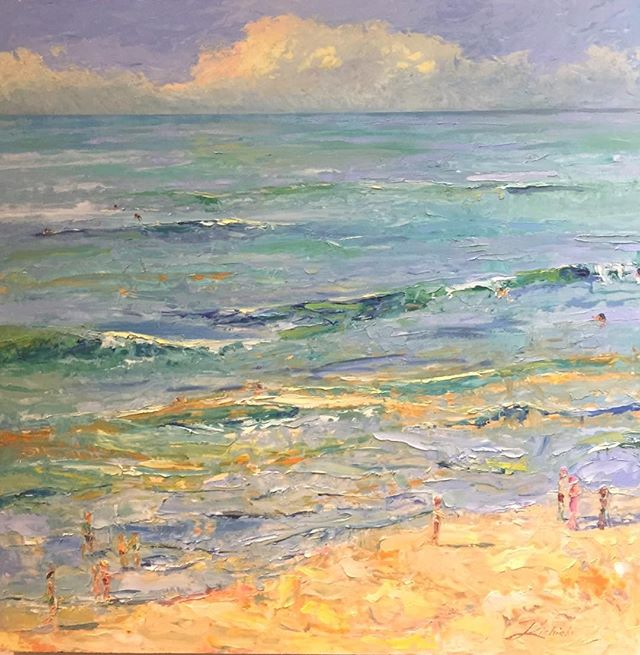 "Bring that beach feeling indoors to calm the mind and keep the body relaxed. On view  at 530 Burns Gallery, 40"" x 40"" oil. #visitsarasota #floridapainter #alwaysthinkinrainbows #color&energy #paletteknife #ampersand"