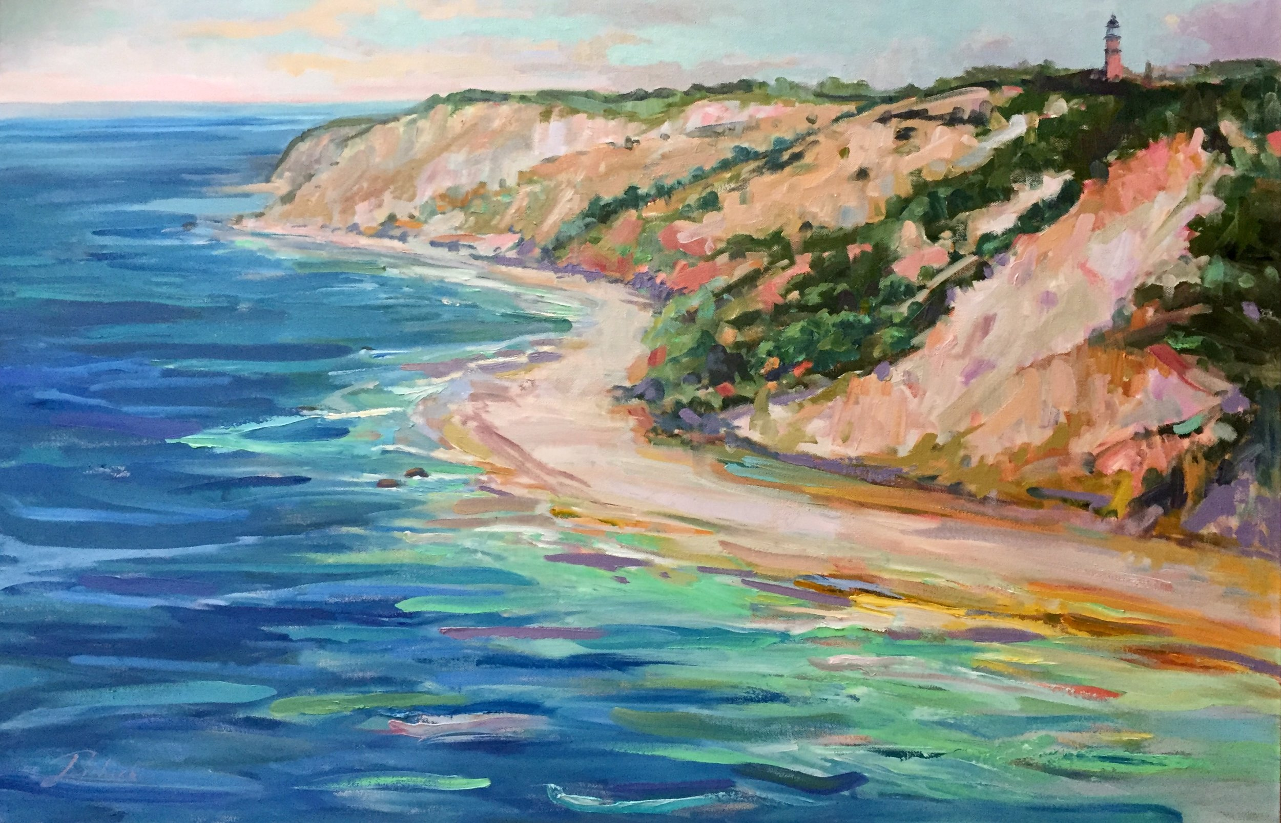 """Nature's Colors take center stage in new exhibit at Nikki Sedacca Gallery.  Aquinas Light. 24"""" x 36"""" Oil by Linda Richichi"""