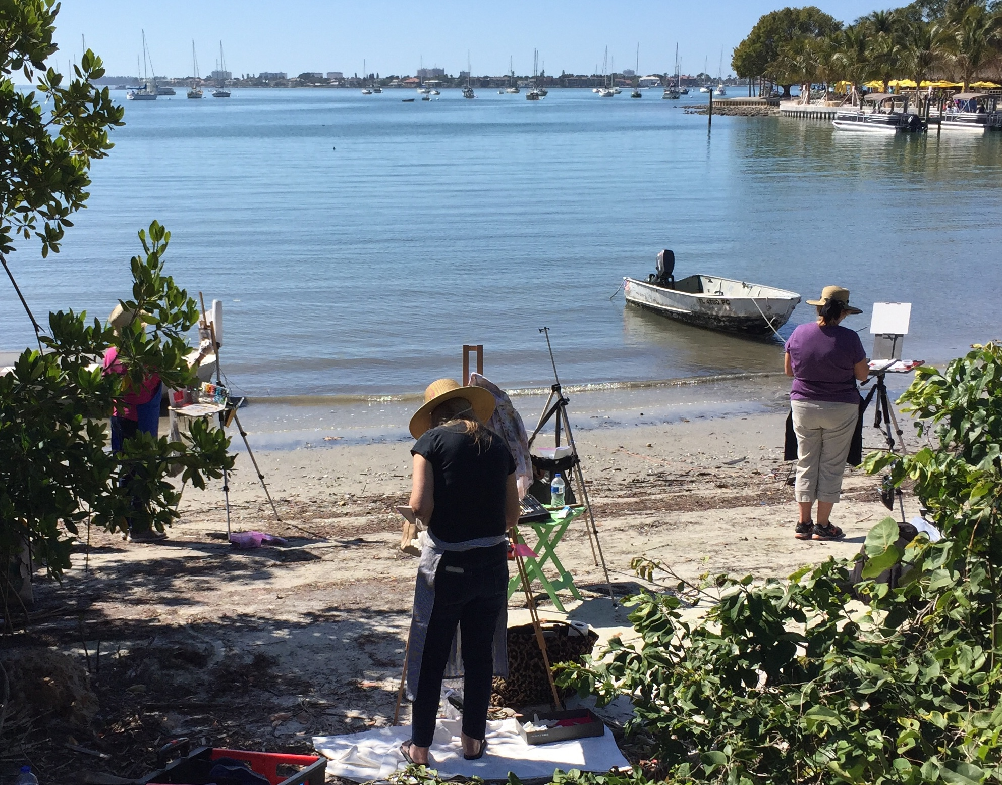 Paint by the Gulf of Mexico with assistance from Linda after a demo.