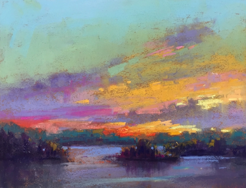 "Island Sunset 9"" x 12"" $975 Available at  Nikki Sedacca Gallery , Edgartown, on Martha's Vineyard"