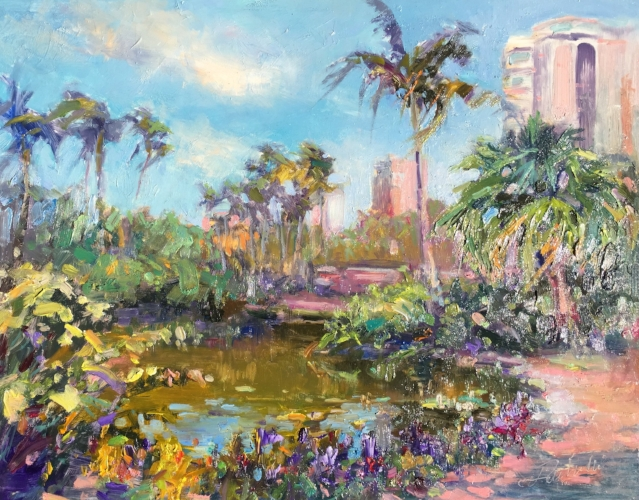 Oil painting at  Marie Selby Garden  in Sarasota, FL.