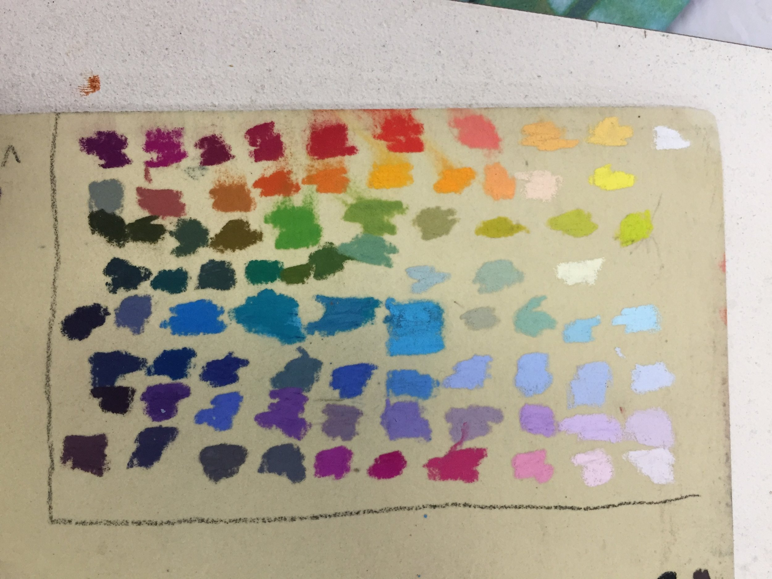 These are my favorite 80 colors that I have used most when painting landscape in pastel. After 20 years of working in pastel and keeping track of what colors I used most often, it was easy to pick these particular colors out from the over 500 colors in the Jack Richeson line. I tested them on a recent trip to Italy and didn't yearn for any other color.  They are now available in the Color & Energy set of soft hand rolled pastels by Jack Richeson company.  It is a prismatic set of colors created to give you the colors necessary to create high energy works of art. You can learn how to increase your color confidence and create vibrant works of art in one of my Color & Energy workshops.   If interested in the pastels…    You can order the set by clicking here   .