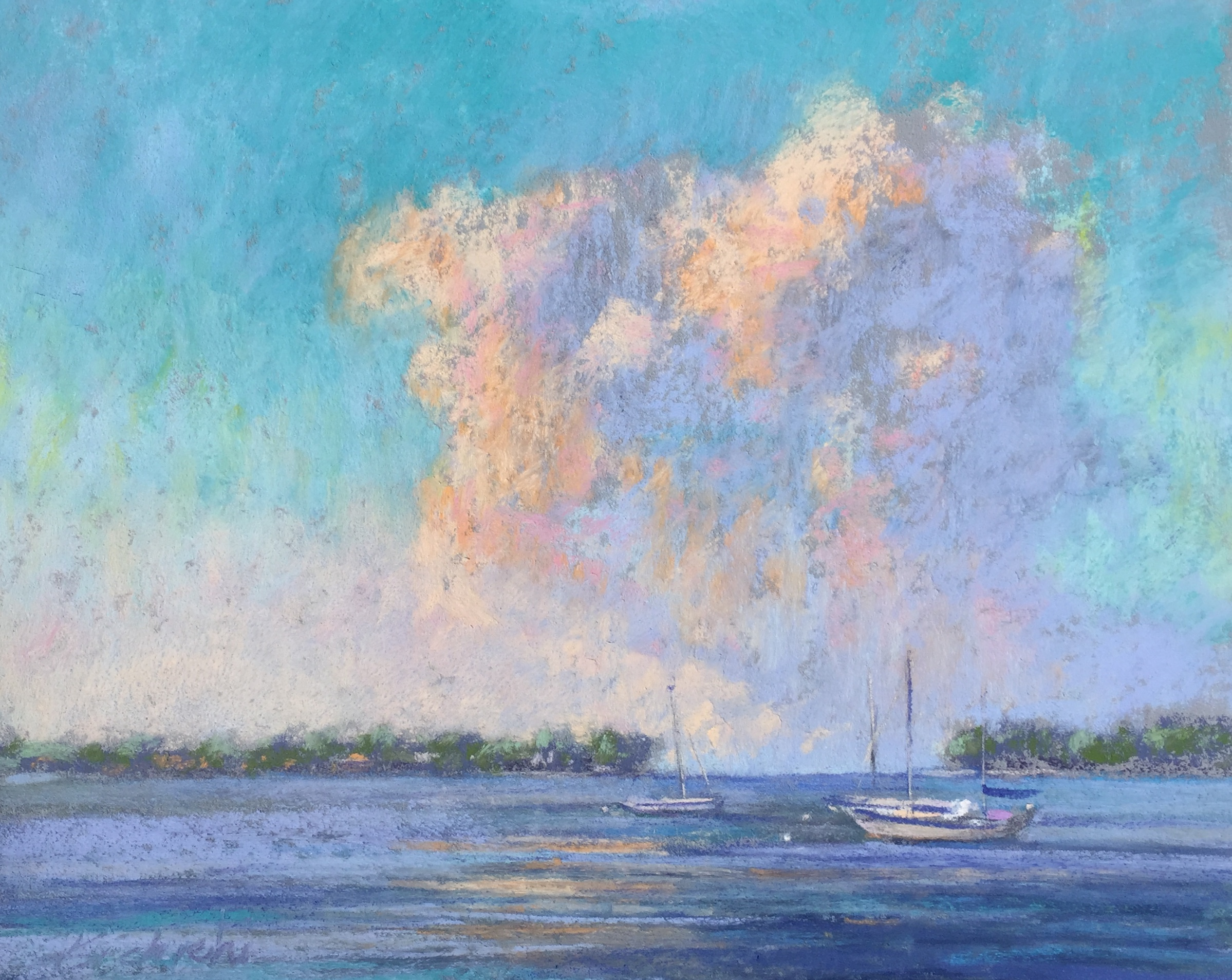 A fast demo created on the bay to show how to capture the light in pastel.  The four characteristics of LUMINOSITY are evident in this painting.  Learn how to capture the color and energy of the light in paint or pastel. Hint: it has little to do with brightness. Learn more at a workshop in 2019/2020. Register above today.