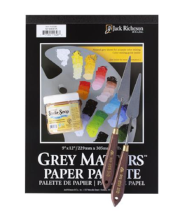 Pad of paper, palette knives and soap for brushes