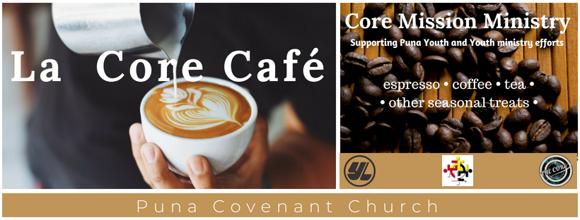 """We equip and inspire our youth to experience serving and experiencing ministry opportunities. We created the the """"Core Cafe"""". Maybe it is just a catchy title to describe what we are crafting to be really good espresso, coffee, and tea for our church family ministries. We desire to make you the best espresso available and provide an environment of great fellowship at our cafe in the pavilion. As you support and invest in this ministry, all profits will support our youth, youth ministries for local and international missions."""