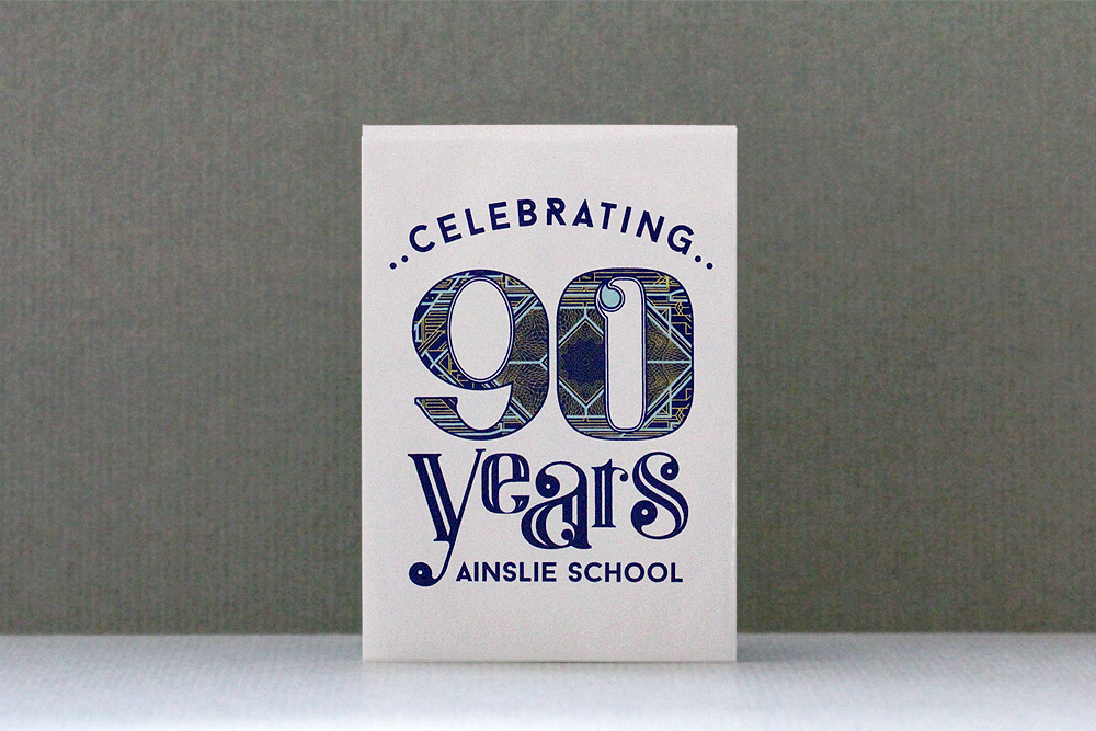 90th celebration graphics for Ainslie School