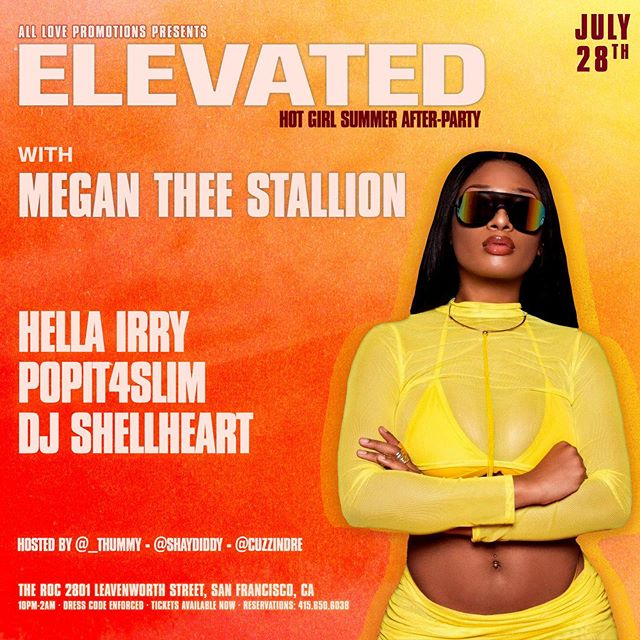 Tonight!! We have @theestallion at The Roc. Couple tables left, lock yours in! 415.650.6038 🍾