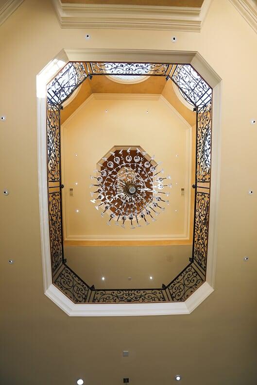 High View of Chandelier in Foyer