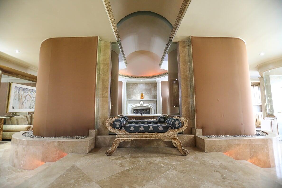 Master Bathroom roman chaise lounge