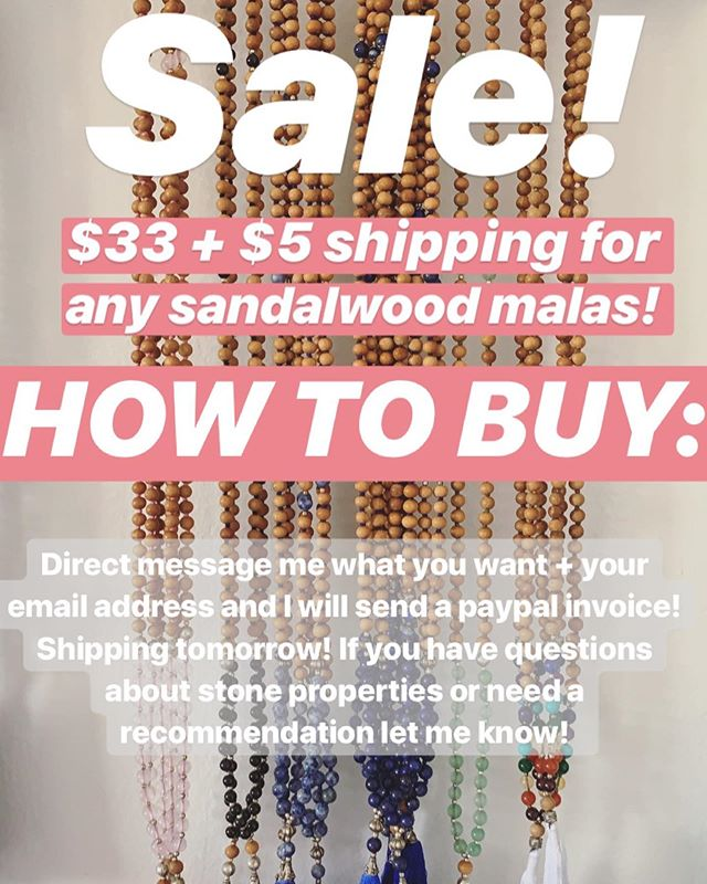 Cheeky little SALE cause I have LOTS of sandalwood malas that need homes! 🥰 Each mala has 108 beads ✨ Fragrant sandalwood ✨ Genuine gemstones (Rose Quartz, Black Tourmaline, Sodalite, Lapis Lazuli, Aventurine, 7 Chakra stones) ✨ Hand knotted ✨ Made in Rishikesh, India ✨ Donates to special projects helping women, children and animals ✨