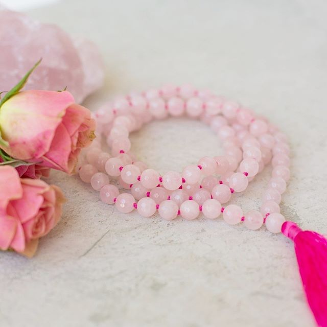 The LOVE + COMPASSION Mala! 🌸 Rose Quartz is the stone of the heart chakra, the Crystal of Unconditional Love. It carries a soft feminine energy of compassion and peace, tenderness and healing, nourishment and comfort. Get yours at www.malaswithamission.com 💕 • • • • • • • • • • • • • • • • #malaswithamission #malaswithamissiontribe #loveandlight #meditation #dogood #metaphysical #chakras #handmadejewelry #supportsmallbusiness #travel #crystallove #crystalmagic #healingjewelry #japameditation #sustainablebrand #yogajewelry #malabeads #crystals #108beads #healingstones #igyogafam #buylocal #purchasewithpurpose #ethicalshopping #consciousconsumer #shopsmall #india #entrepreneur #nonprofit #socialgood