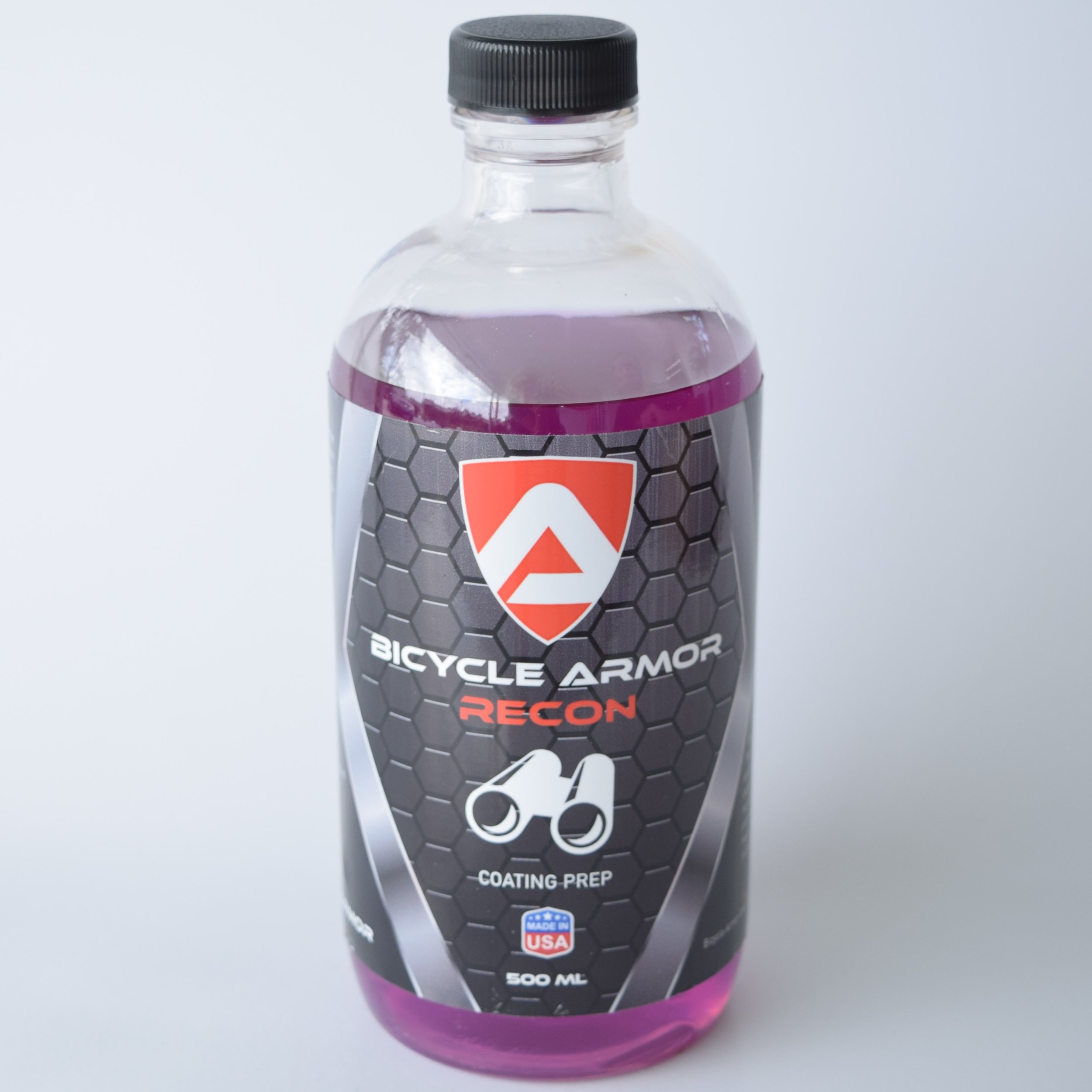Recon - Bicycle Armor Recon is a specially formulated prep product that will degrease and strip the frame and parts from contaminations. It will make sure the coast is clear, so you can start coating. Don't be shy using enough of this product.