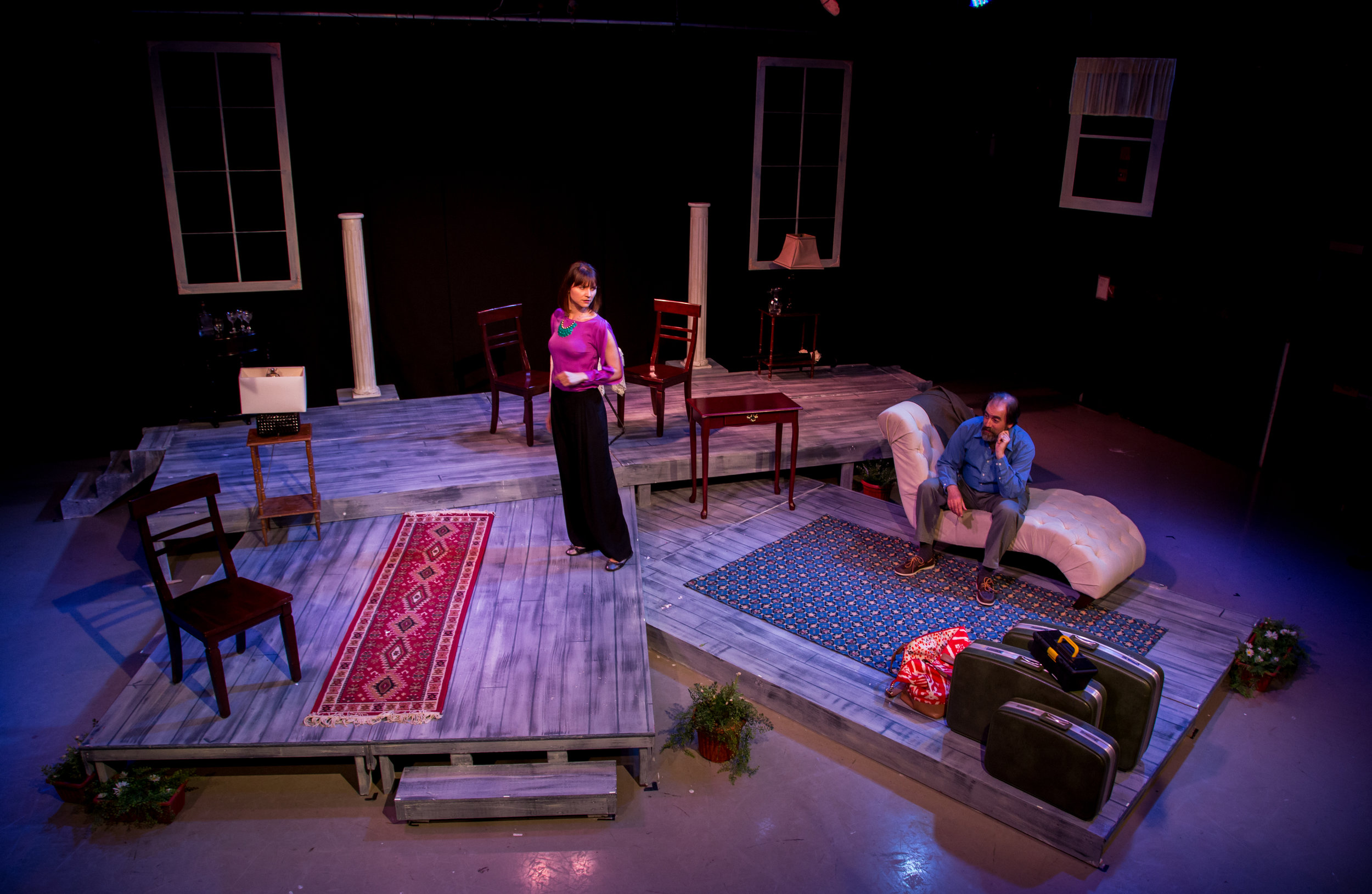 Arkadina (Amie Cazel) and Sorin (Glenn Stoops) lose themselves in their own problems in Ophelia Theatre Group's production of The Seagull by Anton Chekhov. The Seagull was performed at Ophelia Theater in Astoria, New York. Photography courtesy of  John Robert Hoffman .