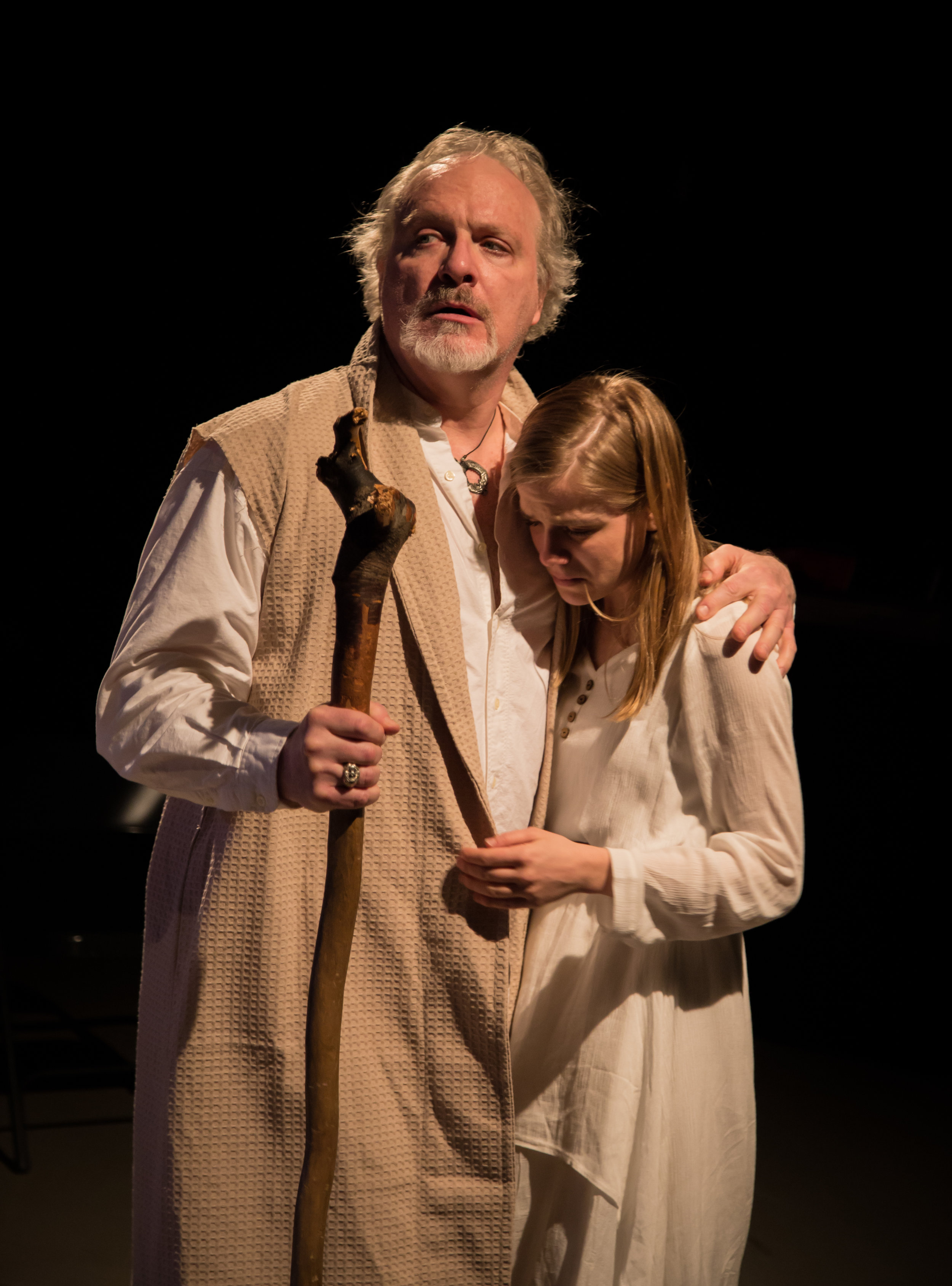 Prospero (Brian J. Coffey*) consoles his daughter, Miranda (Kelly McCready*)   in Ophelia Theatre Group's production of The Tempest by William Shakespeare.  The Tempest was performed at Ophelia Theater in Astoria, Queens. Photography courtesy of  John Robert Hoffman .   *appearing courtesy of AEA
