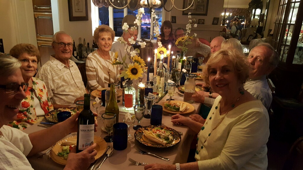 Couples Gourmet at the home of Robbie Pitts and Elizabeth Ussher. Pictured are (Left to right) Robbie Pitts, Anne Stefani, Bill Zakowicz, Sandy Bass, Jerry Stefani, Elizabeth Ussher, Greg Mills, Jerry Bass, Jim Fasbender and Sherry Zakowicz
