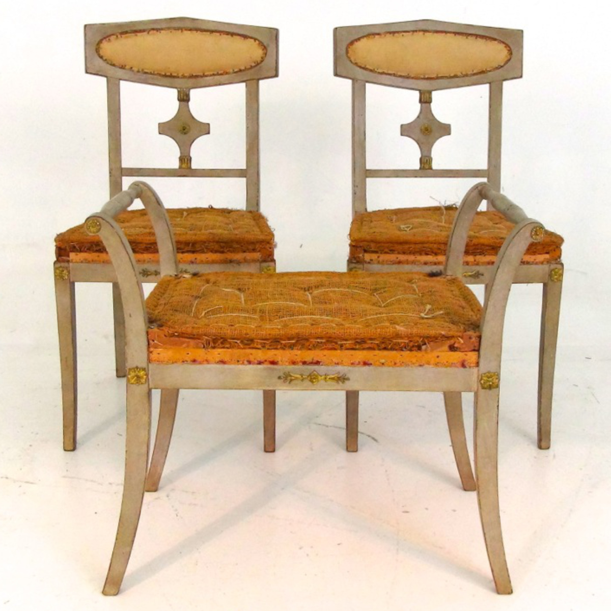 Pair of chairs, one stool, 1900. - € 1.000