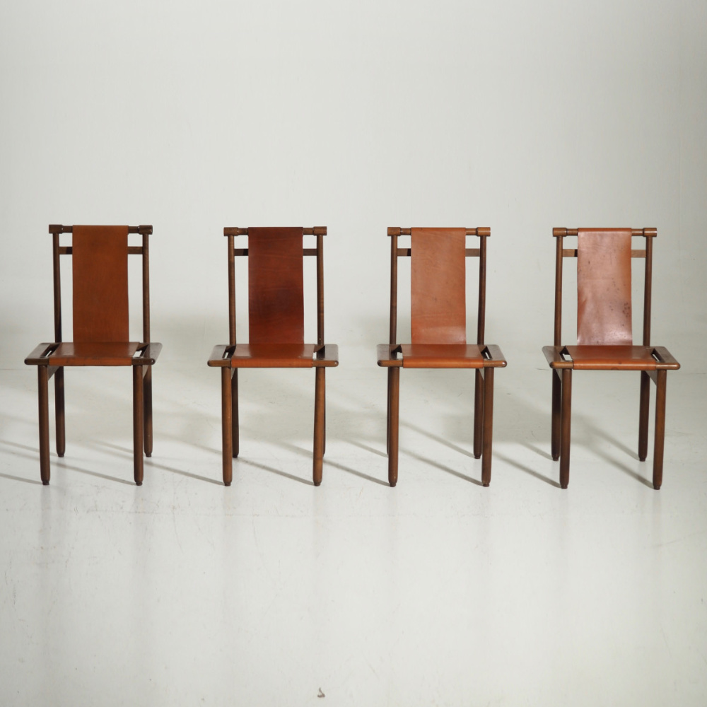 Four rare chairs, in walnut, 60's - € 1.600