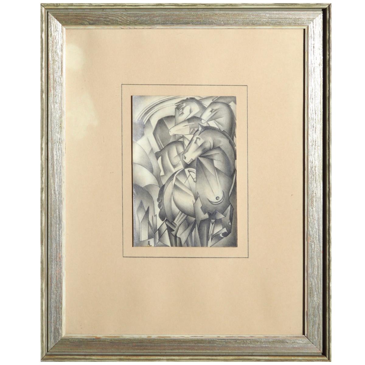 Cubistic drawing, signed FL? EL? - € 500