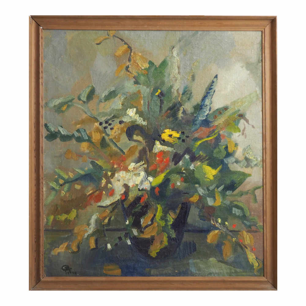 Scandinavian paintings of flowers. - € 1.000