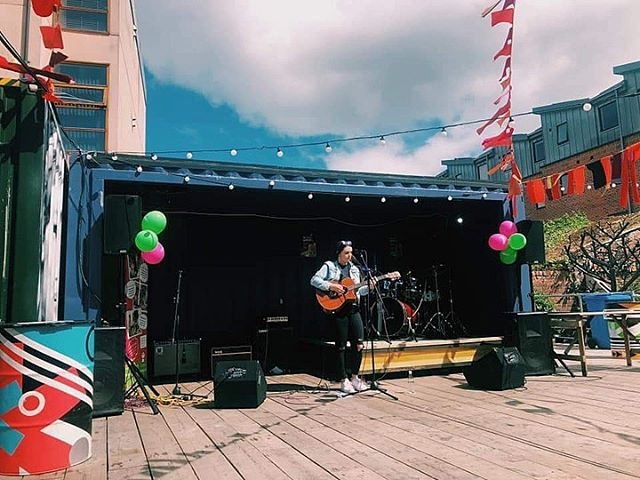 // More live tunes until 6pm today // Here's a lovely shot of @bethbedfordmusic playing as part of our mini festival for @candlelightersyorkshire and our bank holiday birthday bash // We're open until 8pm ⚡️