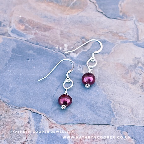 Burgundy pearl silver earrings
