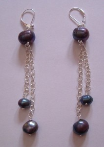 Chocolate coloured pearl and silver earrings