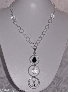 Sterling silver quartz crystal drop necklace