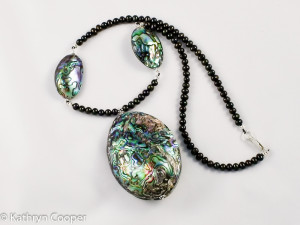 Large Paua Shell & Black Freshwater Pearl Sterling Silver Necklace