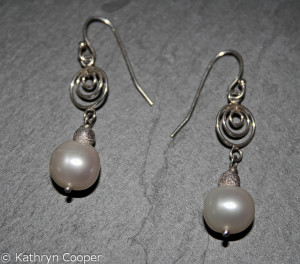 White Pearls & Silver Spiral Earrings