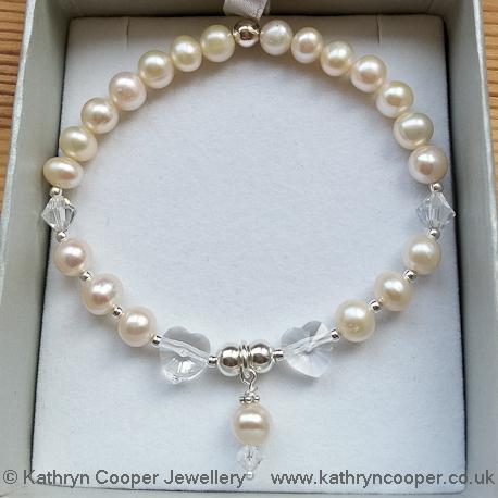 White pearl bridal bracelet