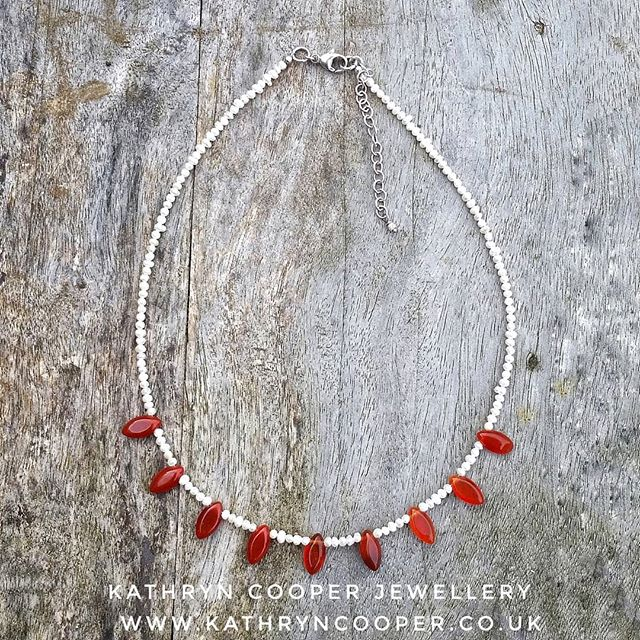 Take 2 gor the gorgeous carnelian drops mixed with tiny freshwater pearls.  The carnelian has a smooth silky feel and has a stunning cognac colour.  Carnelian is believed to enhance creativity and sexuality, give energy and to protect against poverty. A winner!  Day 9 of the #30daysofjewellery challenge. . . . . . . #pearls #bespokejewellery #whitepearls #jewelleryshopping #pearljewellery #jewelleryaddict #hmuk #tinypearls #madeinbritain #carnelian #ukblogger #kathryncooperjewellery #blogger  #weddingjewellery #myjewelleryfamily #carnelianjewellery #outfitinspiration  #jewelleryinfluencer #whattowear #wswib #hlhjune #giftsforher #birthdaygift  #jewellerylover #beadedjewelryofinstagram #beadedjewelryinfluencer #junebirthstone
