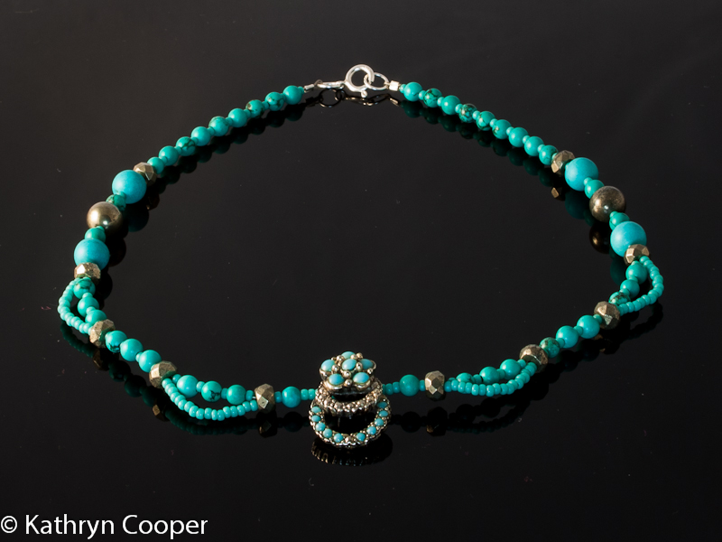 Recycled Turquoise and Pyrite Necklace.