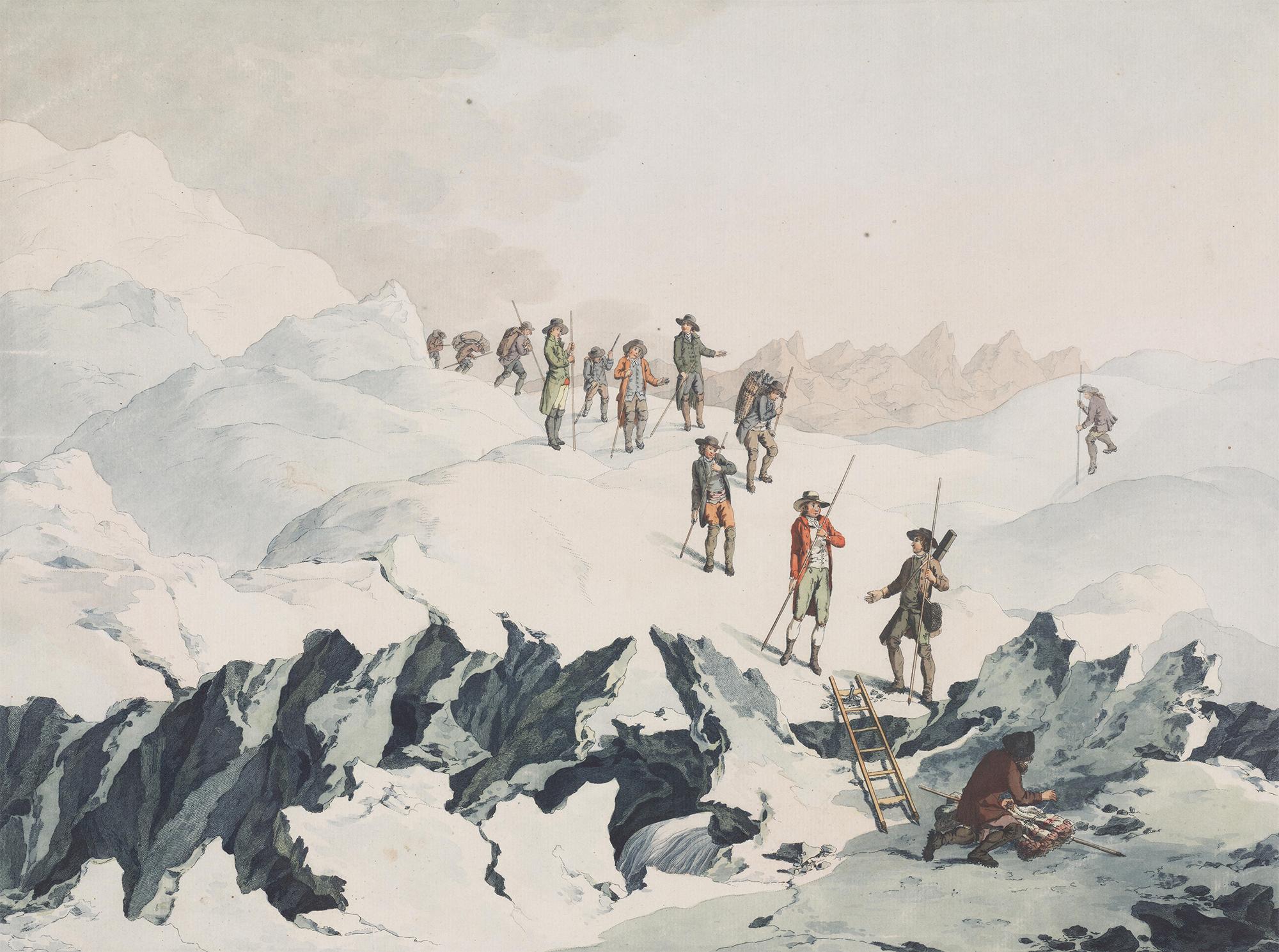 Illustration of the Alpine Climbers |  Christian von Mechel via Wikimedia Commons