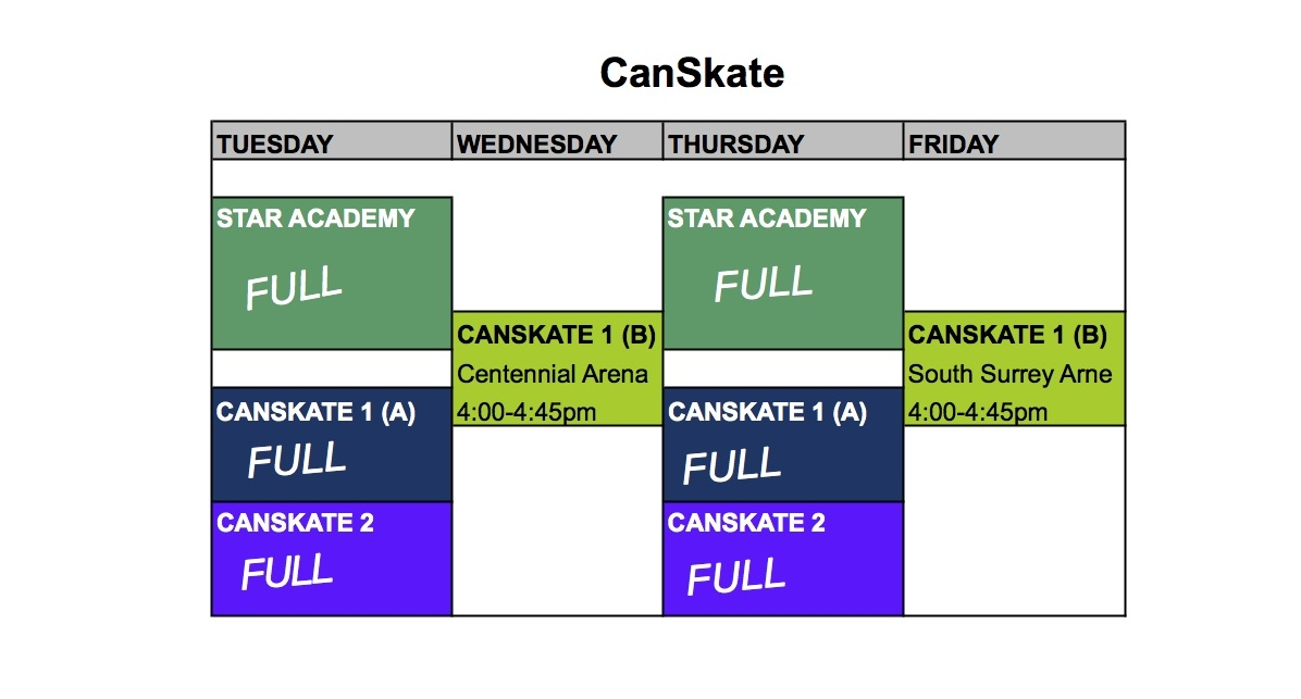Please note that the only CanSkate session still open for registrations is CanSkate 1 (B).