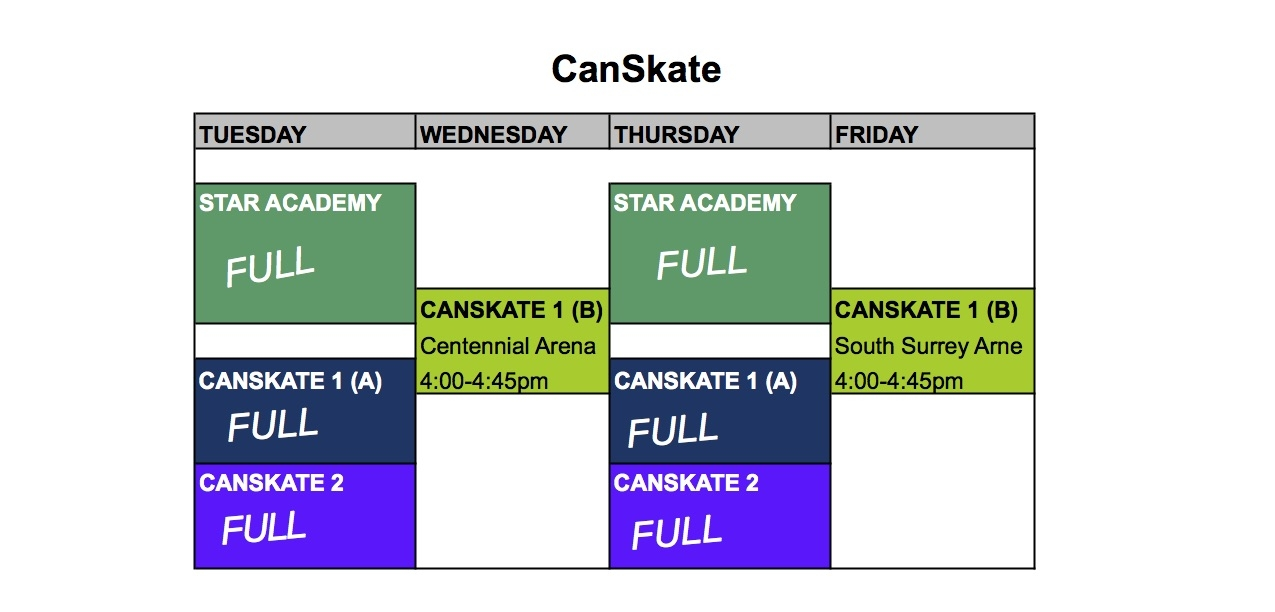 Please note that the only CanSkate session still accepting registrations is CanSkate 1(B).