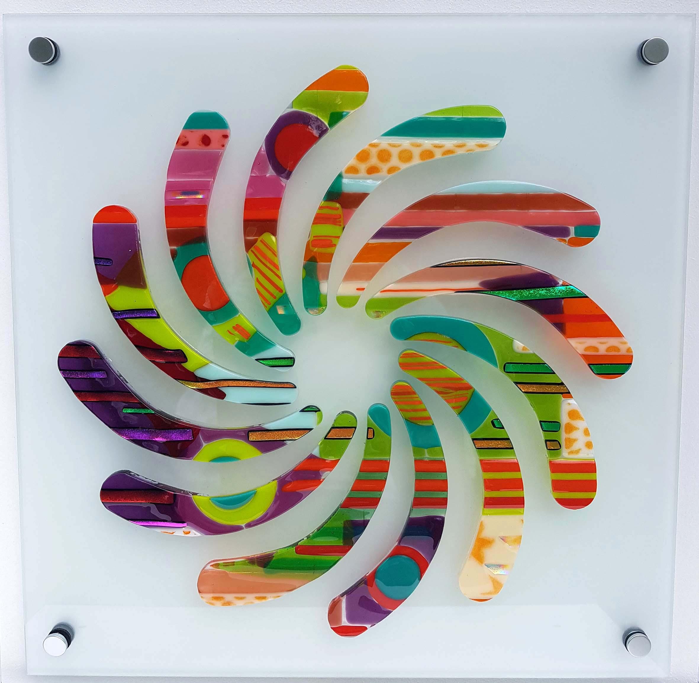 Matching Vibrations, fused Bullseye glass bonded onto 5 mm toughened float glass, 470 mm x 470 mm.jpg