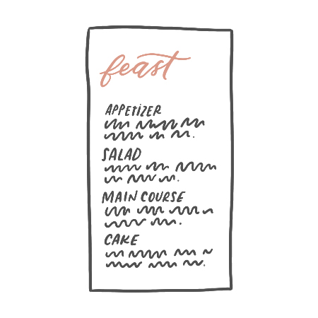 Menus - Hand calligraphed, letterpressed, or printed menus custom designed to perfectly fit your wedding theme.