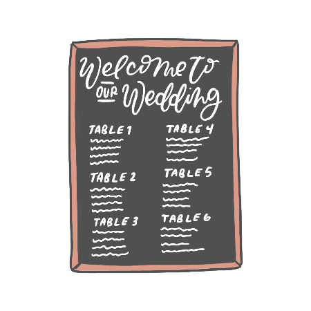 Seating Charts - Hand-calligraphed paper, chalkboard, acrylic, or printed poster design to elegantly display your wedding's seating arrangements.