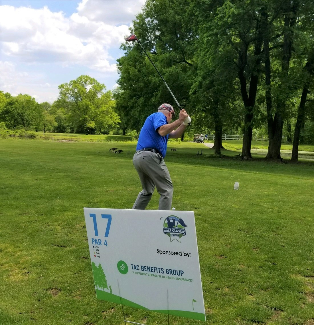 Michael at the tee at the Loomis Company 2019 Partner Appreciation Golf Classic.