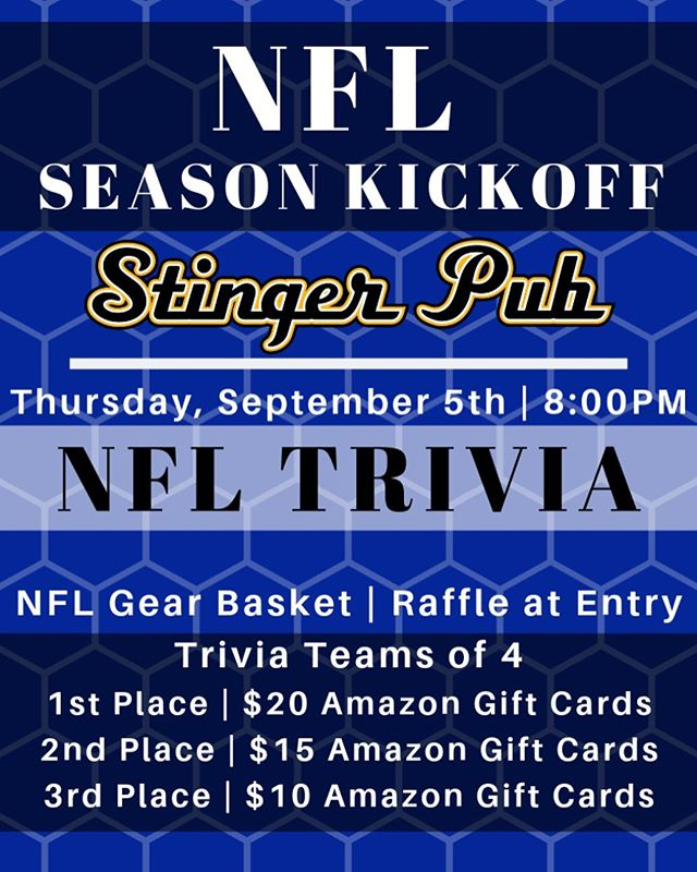 It's TRIVIA time! Join us tonight in the Stinger for a night full of fun and football. 🏈🏈