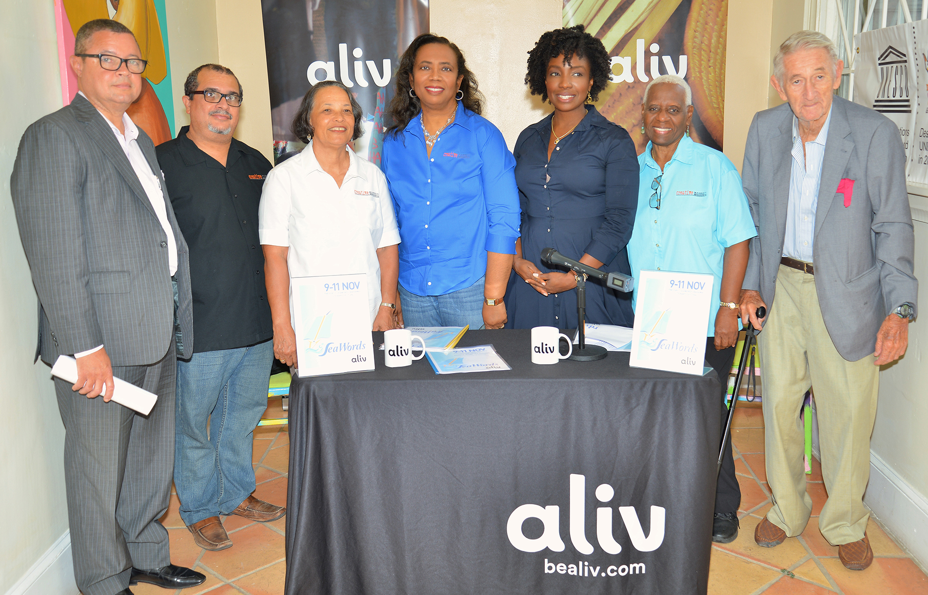 Press Conference to announce the official launch of the SeaWords Bahamas Literary Festival. Doongalik Studios, June 6, 2018.(Left to right) Paul McWeeney, President, Sunshine Insurance (Arawak Homes—Diamond Sponsor); Neko Meicholas, Communications, Creative Nassau; Pamela Burnside, President, Creative Nassau; Patrica Glinton-Meicholas, VP, Creative Nassau; Gravette Brown, Chief Aliv Commercial Officer (Aliv, Title Sponsor); Rosemary Hanna, Member, Creative Nassau and Richard Coulson, Member, Organizing Committee,SeaWords Bahamas.
