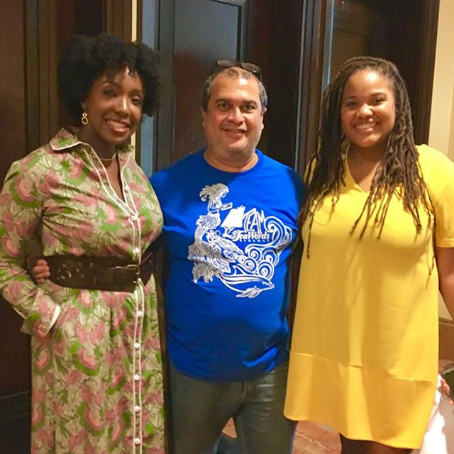 Gravette Brown (Aliv), Neko Meicholas (Guanima Press Ltd) and Orchid Burnside (Islandz Tours) at SeaWords Bahamas Aliv Literary Festival & Writers Conference.  #seawordsbahamas #seawords #conference #festival #writer #author