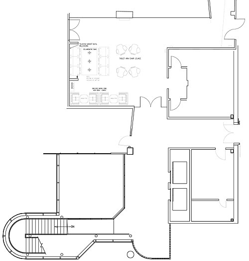 Lobby and Collaborative Space Commercial Interior Design and Floorplan