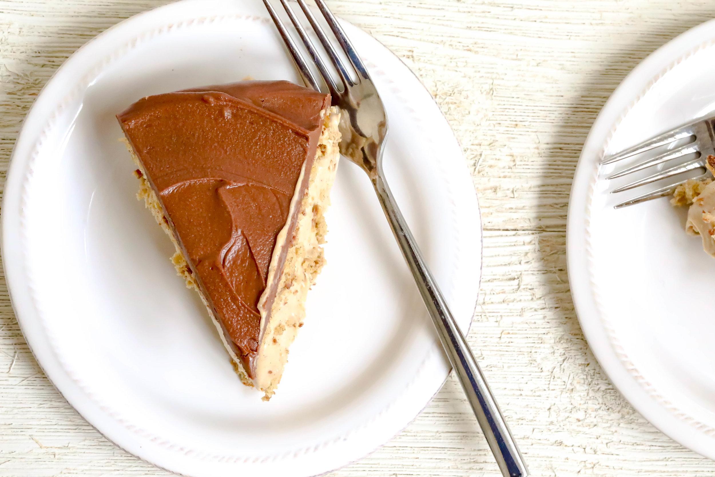 Slice of Healthified Boston Cream Pie