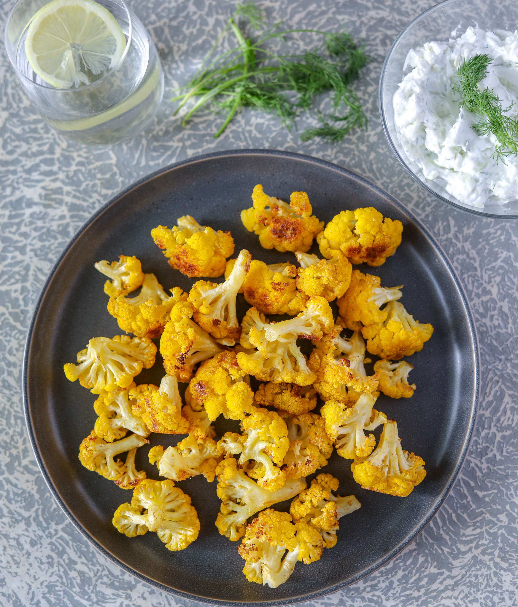 Cumin Cauliflower with Dairy-Free Tzatziki